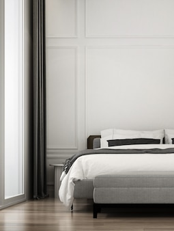 Espace de chambre de luxe moderne et maquette de design d'intérieur de meubles et fond de texture de mur
