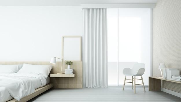 L'espace de chambre minimaliste intérieur en copropriété et décoration fond blanc
