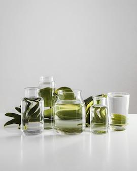 Espace de copie abstrait arrangement végétal minimal