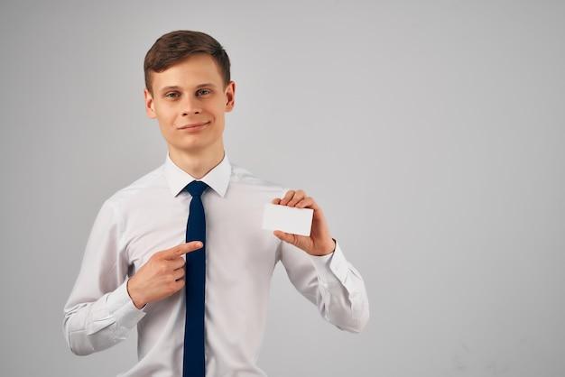 Espace de copie de carte de visite de travail de bureau d'homme d'affaires