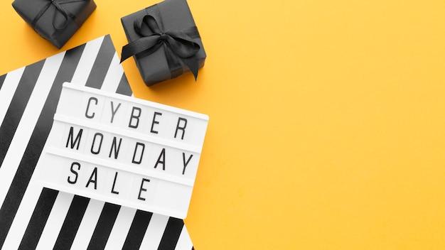 Espace de copie de concept de vente cyber lundi