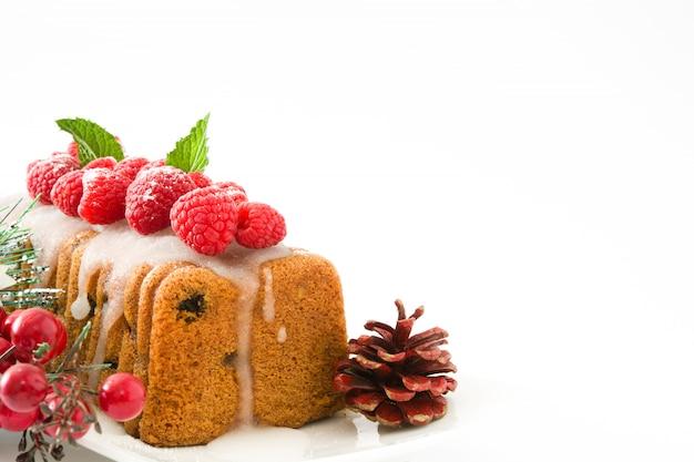 Espace de copie de gâteau aux fruits de noël