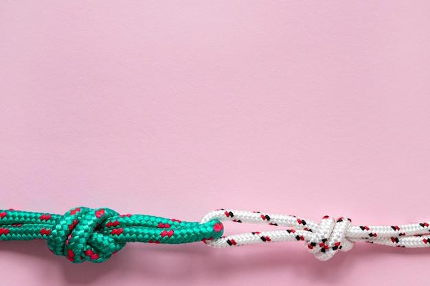 Espace de copie de noeuds de corde verte et blanche nautique