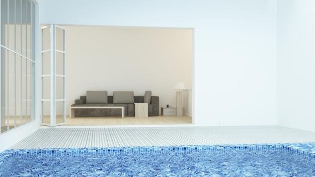 Espace détente intérieur connecte piscine et rendu 3d