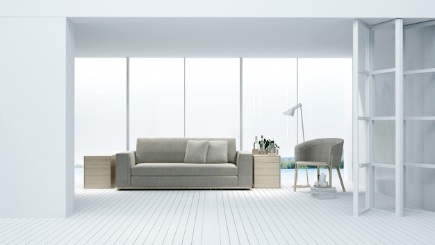 Espace détente rendu 3d vide - mur décoratif