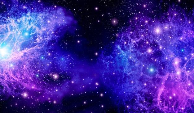 Espace extra-atmosphérique, univers, violet, lumière des étoiles, galaxie, fond abstrait lumineux