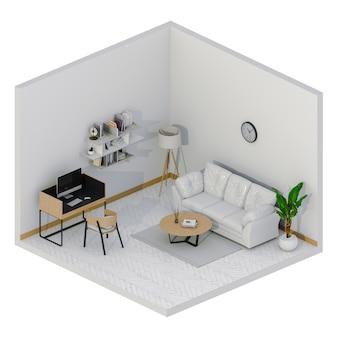 Espace intérieur pour zone de travail avec ordinateur de bureau