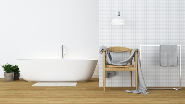 L'espace intérieur de la salle de bain et l'arrière-plan dans l'appartement - rendu 3d