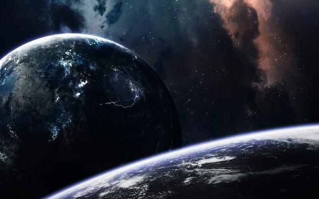 Espace lointain sombre avec des planètes géantes dans l & # 39; espace