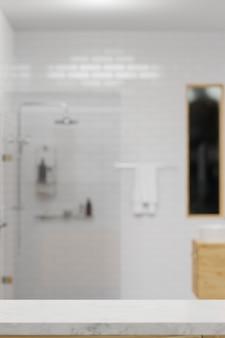 Espace de maquette pour le montage sur une table en marbre blanc avec une simple salle de douche blanche floue 3d