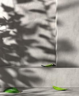 Espace minimal moderne pour le produit de présentation d'exposition avec le mur en béton et le rendu 3d de fond d'ombre de la lumière du soleil
