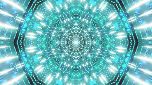 Espace de particules étoile bleu vert illustration 3d visuel
