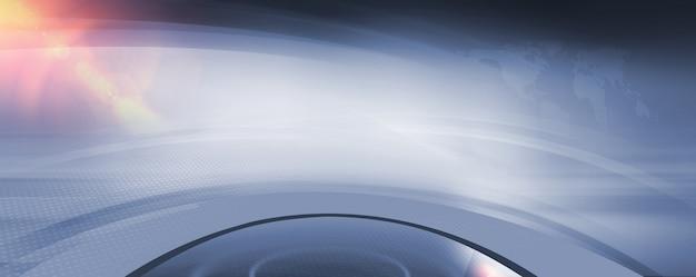 Espace studio 3d abstrait avec lentille dans le coin supérieur gauche