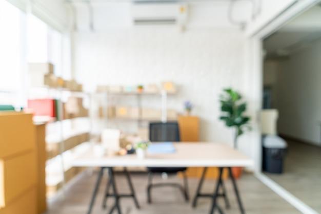 Espace de travail abstrait à la maison, photo floue