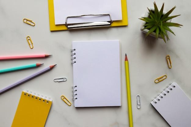 Espace de travail avec blocs-notes, carnet de croquis, crayons, plante, presse-papiers avec feuille de papier vide et sur marbre