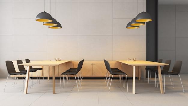Espace de travail co - intérieur moderne et loft / rendu 3d