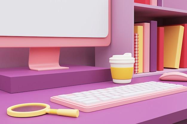 Espace de travail de couleur pastel avec ordinateur et fournitures de bureau sur le bureau. rendu 3d.