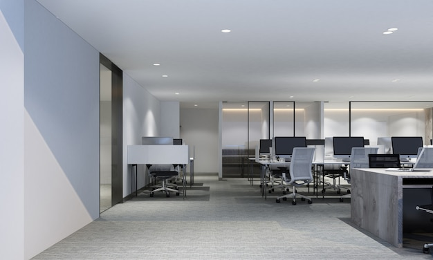 Espace de travail dans un bureau moderne avec moquette et salle de réunion, rendu 3d intérieur