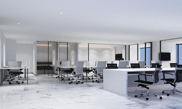 Espace de travail dans un bureau moderne avec sol en marbre blanc et salle de réunion, rendu 3d intérieur