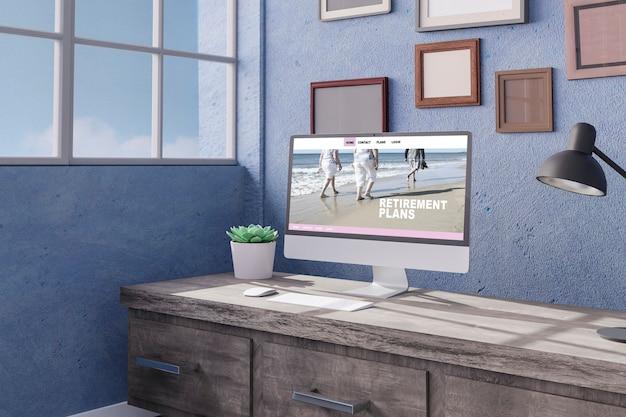 Espace de travail à la maison avec un ordinateur de bureau