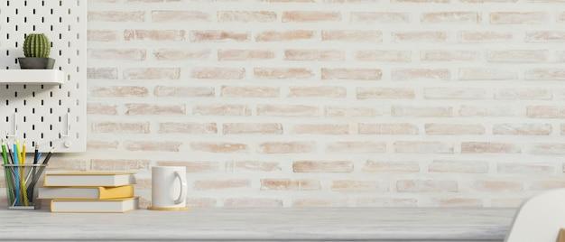 Espace de travail de maquette avec des décorations d'espace de copie de papeterie et rendu 3d de fond de mur de briques