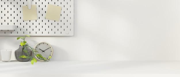Espace de travail minimal blanc avec espace de copie sur table blanche, décoration de bureau, rendu 3d, illustration 3d