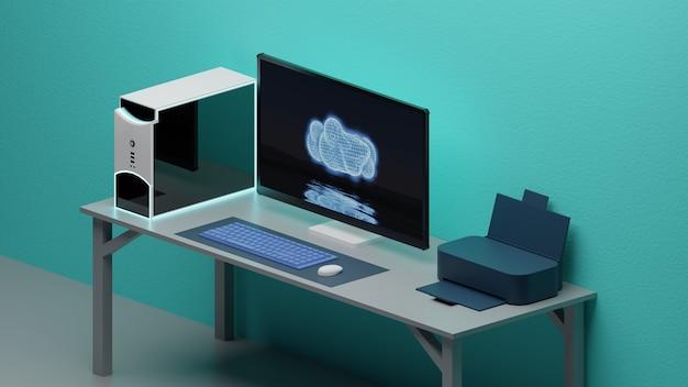 Espace de travail ordinateur de bureau, clavier, souris, moniteur et imprimante fond sarcelle isométrique
