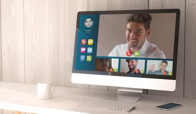 Espace de travail de rendu 3d avec vidéoconférence