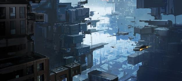 Espace urbain multidimensionnel, concepts exotiques, peinture numérique.