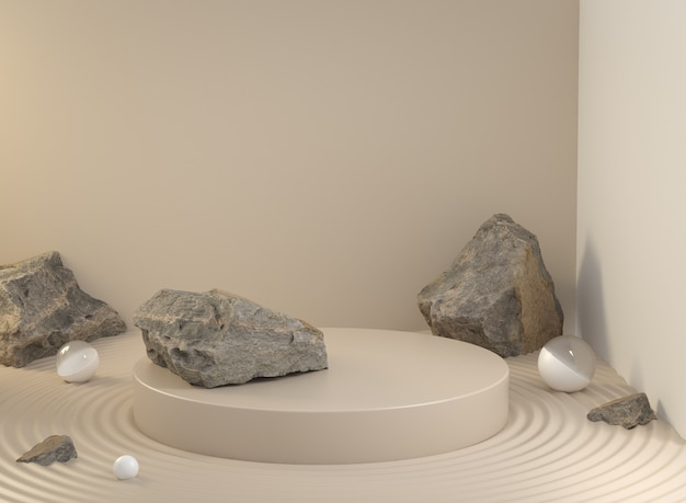 Espace vide d'affichage de podium pour le produit d'exposition avec la roche naturelle sur le sable dans le rendu 3d de la pièce de fond de couleur beige