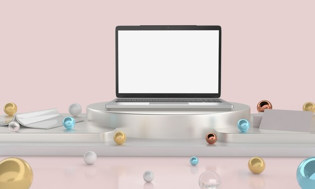 Espace vide sur un bureau en bois avec ordinateur portable avec un écran blanc vide.