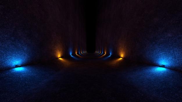 Espace vide avec des murs en béton et des lampes sur les murs qui diffusent une lumière douce et diffuse de haut en bas