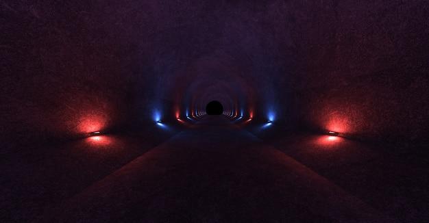 Espace vide avec des murs en béton et des lampes sur les murs qui diffusent de la lumière rouge et bleue douce et diffuse de haut en bas.