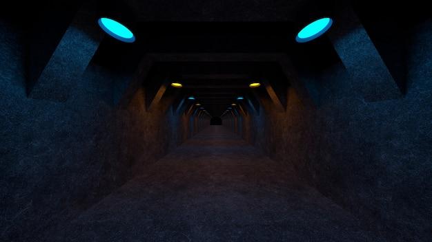 Espace vide avec des murs en béton et des lampes sur les murs