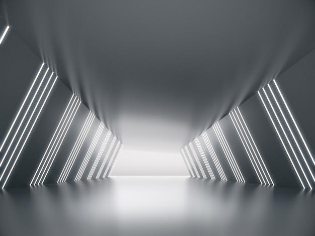Espace vide pour l'exposition de produits dans un long couloir avec une lueur légère.