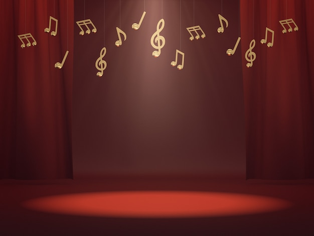 Espace vide pour l'exposition de produits sur scène rouge avec des notes de musique dorées. rendu 3d.