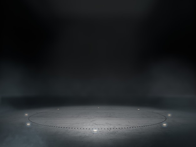 Espace vide pour le spectacle de produit dans une pièce sombre avec une tache lumineuse sur le fond.