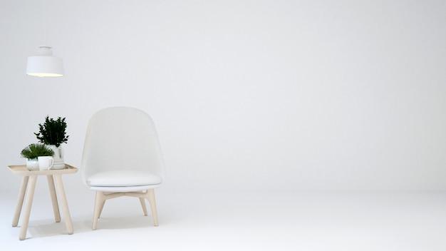 Espace de vie ou espace de détente sur fond noir blanc - rendu 3d