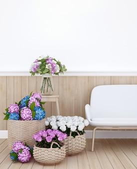 Espace de vie et fleurs colorées dans l'appartement - architecture d'intérieur pour le coin-repas