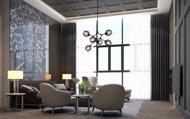 Espace de vie de style moderne de luxe avec décoration en bois et marbre dans les tons gris, rendu 3d