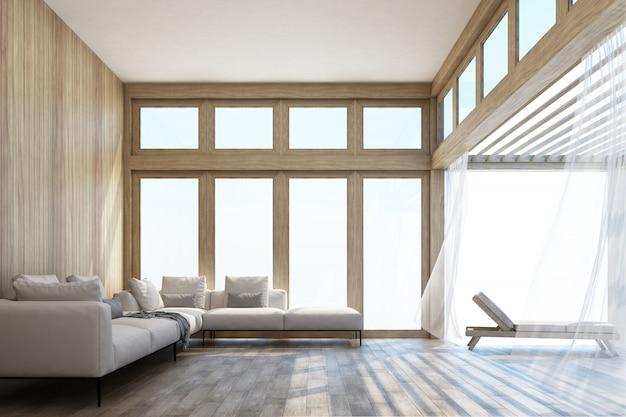 Espace de vie de style naturel et terrasse avec rendu 3d du ciel
