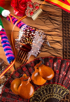 Espana typique d'espagne avec des castagnettes éléments de flamenco