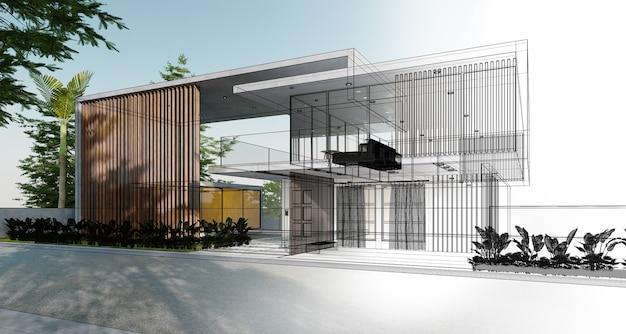 Esquisse et rédaction d'une maison moderne et confortable devenant réalité. illustration 3d