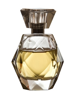 Est carré avec une bouteille de parfum pour femmes sur fond blanc