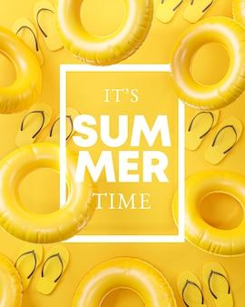 C'est l'heure d'été sur fond jaune