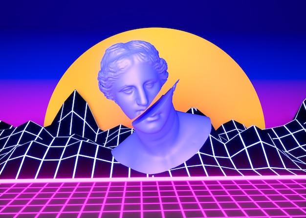 Esthétique 3d avec des formes dans le style vaporwave