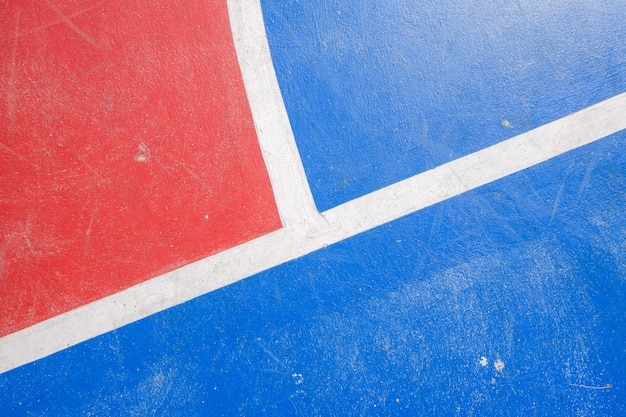 Étage du terrain de basket avec des lignes de marquage