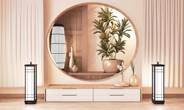 Etagère armoire en bois sur la salle de style de style zen et decoraion en bois, rendu de terre