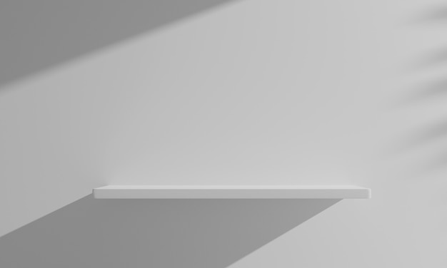 Étagère en bois flottant rendu 3d sur un mur blanc vide.