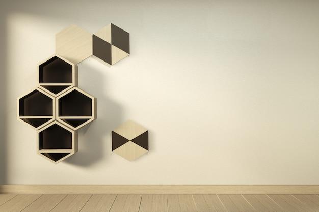 Étagère en bois hexagonale design japonais sur mur rendu 3d